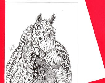 LET'S RIDE - Horse Card, Zentangle Doodle Cards, animal card,  All Occasion Card, Colouring Creative Cards