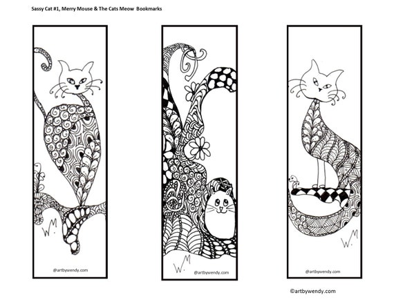 Instant Printable Zentangle Bookmark Readers Gift Book