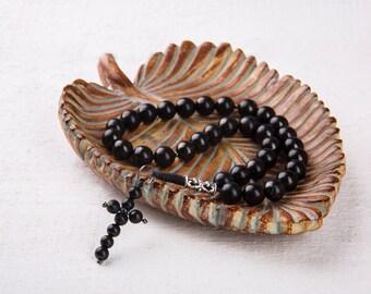 Shungite Christian Rosary 10 mm(0,39in)&6mm (0,27in) Beads Round Karelian Shungite EMF protection Healing Praying Beads