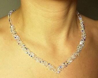 Swarovski Crystal necklace Swarovski Crystal V Necklace Special Day Necklace Clear AB Necklace Bridal Crystal Necklace Wedding Necklace