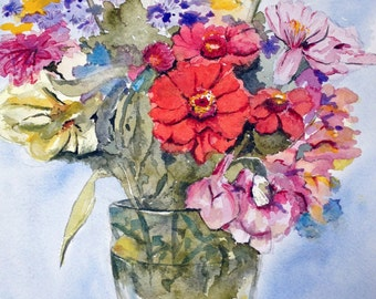Flower Bouguet, summer flowers, original watercolor painting, framed painting