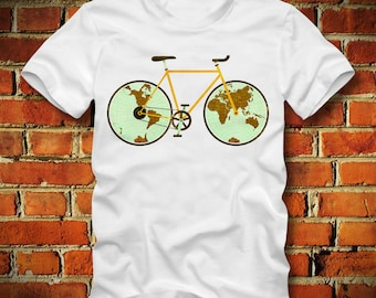 BOARDRIPPAZ Fixed Gear T SHIRT Around the World Fixie Bicycle Racing Bike Bike Race Bike Messenger Mountainbike Spare Parts Fixed Gear Shirt