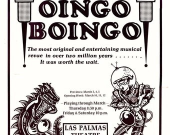 Mystic Knights of the Oingo Boingo - Original Las Palmas theatre poster for the show that never happened.