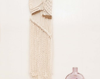 Cotton Macrame Wall Hanging with Jute Accents
