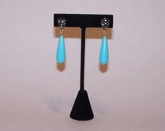 Teardrop blue and turquoise drop EARRINGS