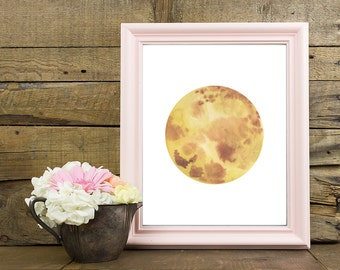 Mercury Print, Mercury Wall Decor, Mercury Home Decor, Planet Print, Space Print, Solar System, Space, Science, Watercolor Planets, Galaxy
