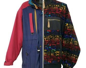 Obermeyer Skiwear Ski Jacket Vintage 80s 90s Arrowhead Aztec Fleece Inner Jacket 3 In 1 Roll Up Hood Mens Size M