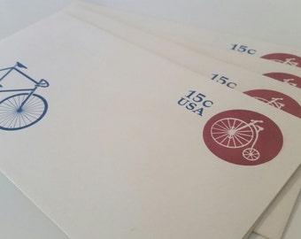 Bicycle Embossed USA Envelopes/Vintage Unused Issued 1980