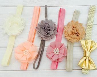 Baby Girl - Baby Headbands Set, Baby Flower Headband, Baby Headband Bows, Newborn Headband, Infant Headbands, Baby Girl Headbands Set