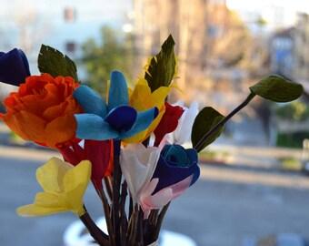 Bouquet of Crepe Paper Flowers