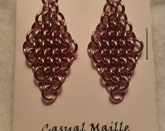 Pink Chain Maille (European 4-1) Earrings