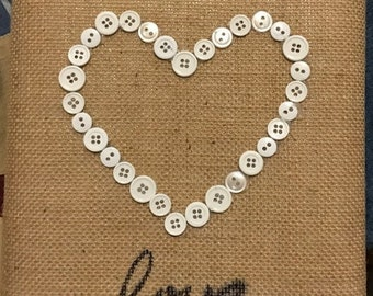 SALE ITEM! handmade button heart on canvas wrapped in burlap