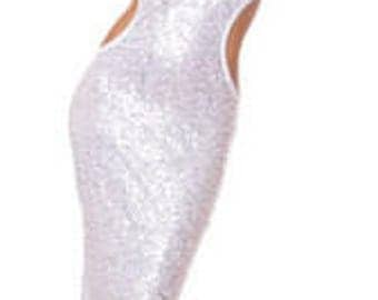 Women's Silver Sequin Gown Dress w Low Rise Back, Glamorous Gown, Sexy Gown, Evening Gown, Halter Dresses, Elegant Dresses, Free Thong