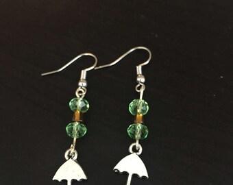 Green Bead Umbrella Earrings