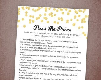Pass the Prize Game, Pass the Gift, Pass the Parcel Rhyme Printable, Gold Confetti, Bridal Shower, Baby Shower, Wedding Shower Games, BSG1