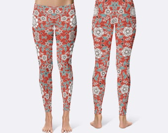 Flower Leggings, Floral Leggings, Ladies Leggings, Unique Leggings, Print Leggings, Yoga Pants, Womens Leggings, Red Leggings, Blue Leggings