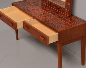 Danish dressing table in teak and glazed stoneware