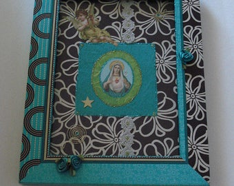Picture - collage / turquoise + Brown with retro charm / frame