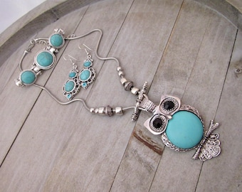 Owl Necklace Set, Howlite Turquoise Stone Owl Pentant Necklace, Earrings and Bracelet Set, Owl Lovers Gifts