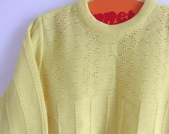 Lemon Sweater: childs vintage 1970s sweater