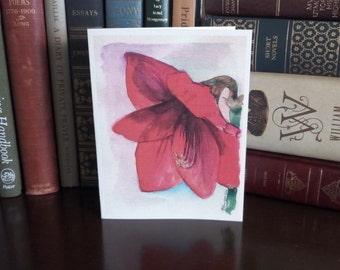 Crimson Amaryllis card in watercolor -- sold in sets of 5 -- envelopes included --