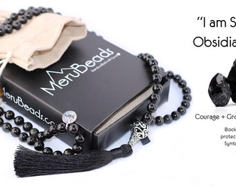 Premium Obsidian Black 8mm Mala Beads Necklace - 108 Beads Meditation Necklace - Mala Bracelet - Yoga Jewelry - Mala Necklace