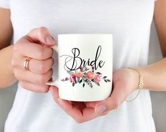 Floral Bride Mug, Floral Bride Gift, Floral Bride Present, Floral Bridal Shower Gift, Floral Wedding Mug, Gift For Bride From Friend