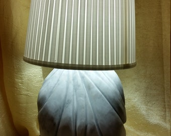 Artistic lamp in white Carrara marble