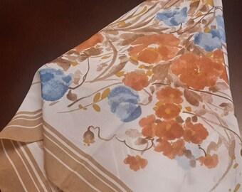 3 DAY SALE Vintage floral scarf, flower scarf, pretty dress scarf wrap