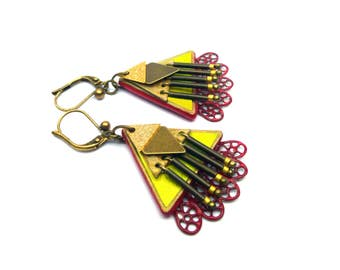 """Earrings leather, light, yellow / / """"LILIYA"""" yellow and Red version"""