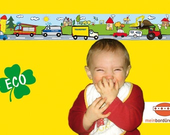 ECO kids trim: cars - borders for children, border for allergy sufferers, wall border, nonwoven, wall trims, vehicles