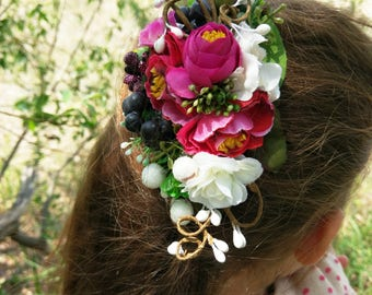 Magenta floral crown Wedding hair halo Bridal hair comb Pink floral crown Wedding hair comb Bridal halo crown Floral hair piece Flower halo