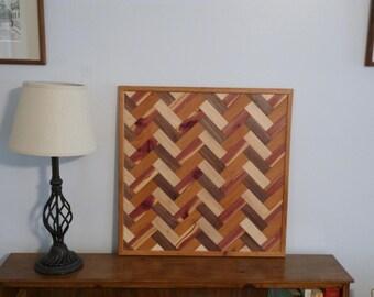 Wood Wall Art, Wood Art, Herring Bone Pattern Wood Art  ~  Splash