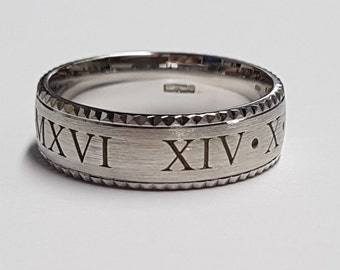 Palladium 950 Roman numeral wedding band