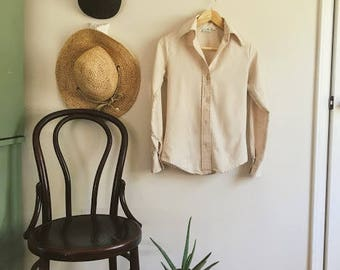 Vintage 70's Pointed Collar Button up/ Artichoke brand blouse/ Women's Size 5