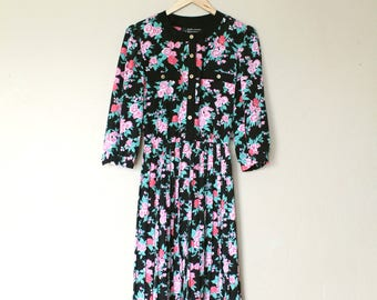 1980s 3/4 Sleeve Floral Print Dress
