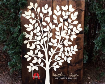 120 Leaves Rustic Wood Tree Guest Book with Birds on Swing | Names in Gold | White on Wood | Guest Book Alternative