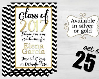 25 Chevron Graduation Invitations