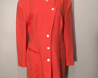 Vintage 1980s Coral Cotton and Linen Blazer, Size 40 - Made in Western Germany by Mondi