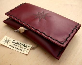 Handmade artisan hand-sewn genuine leather Canapart maps! Amaranth