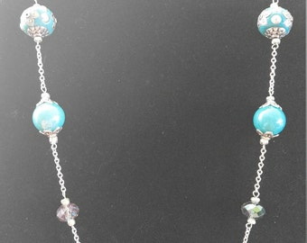 Blue and Silver Chain Necklace