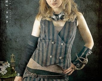 Steampunk stripe mini skirt