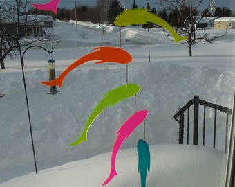 Fish mobile, garden decoration, fluorescent, acrylic, indoor mobile, outdoor mobile, Chinese design