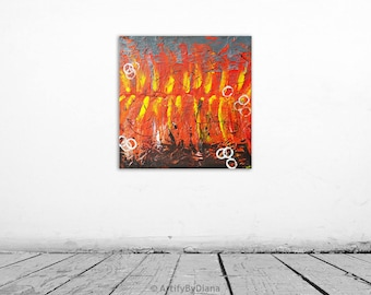 Inferno - Texture Painting - Abstract painting - Original acrylic painting on canvas - 50x50cm - Wall art - Home decor - by Diana Marinova