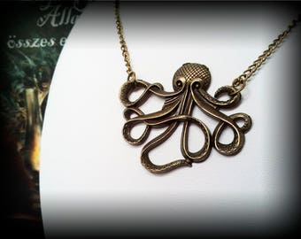 Vintage Bronze Octopus Cthulhu Pendant Necklace