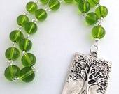 Green Tree of Life Pocket Prayer Beads // Pagan Prayer Beads // Gaia // Danu // Wiccan // Druid