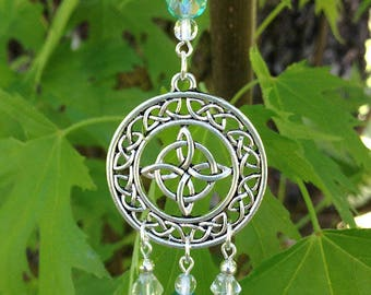Aqua Celtic Knot Suncatcher