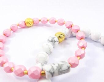pink stone women bracelet marbled