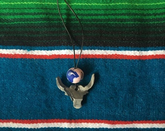 Ballet Pink and Deep Blue Speckled Clay Bull Skull Necklace