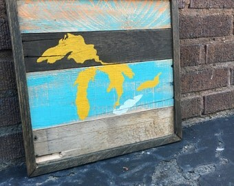 Great Lakes Wall Decor - Pallet Wood Art - Pallet Art - Cleveland - Lake Erie - The Greatest - Yellow